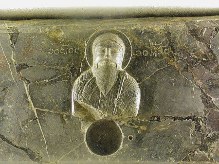 Thomas image on the reliquary at Ortona