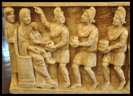 Three wise men from east - from a third-century sarcophagus (Vatican Museums)
